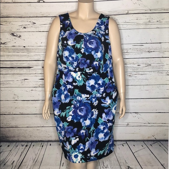 Fashion Bug Dresses & Skirts - Fashion Bug 22W Blue Floral Print Sheath Dress
